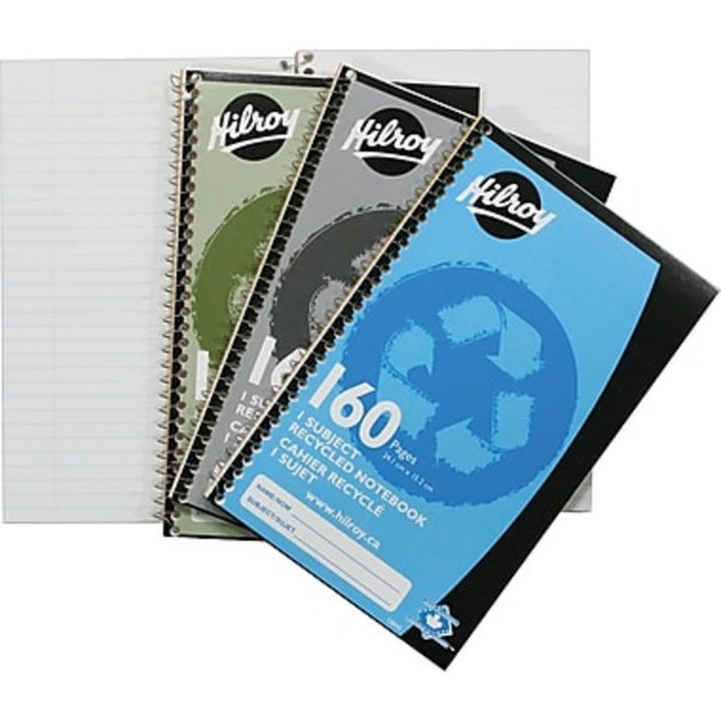 """Hilroy 9-1/2"""" x 6"""" Assorted 1 Subject Recycled Notebook"""