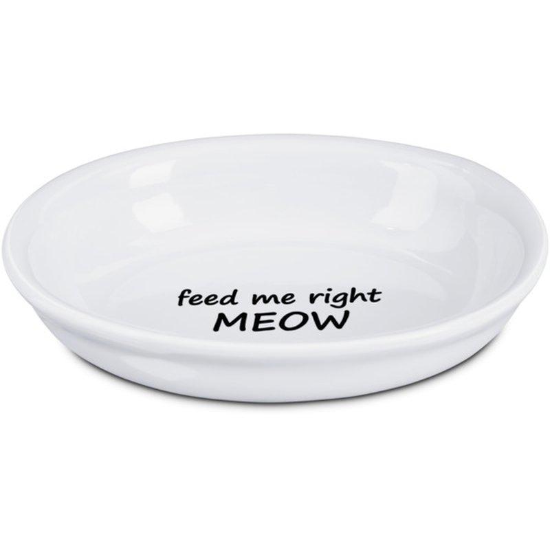 Harmony Feed Me Right Meow White Ceramic Cat Bowl 1 C.