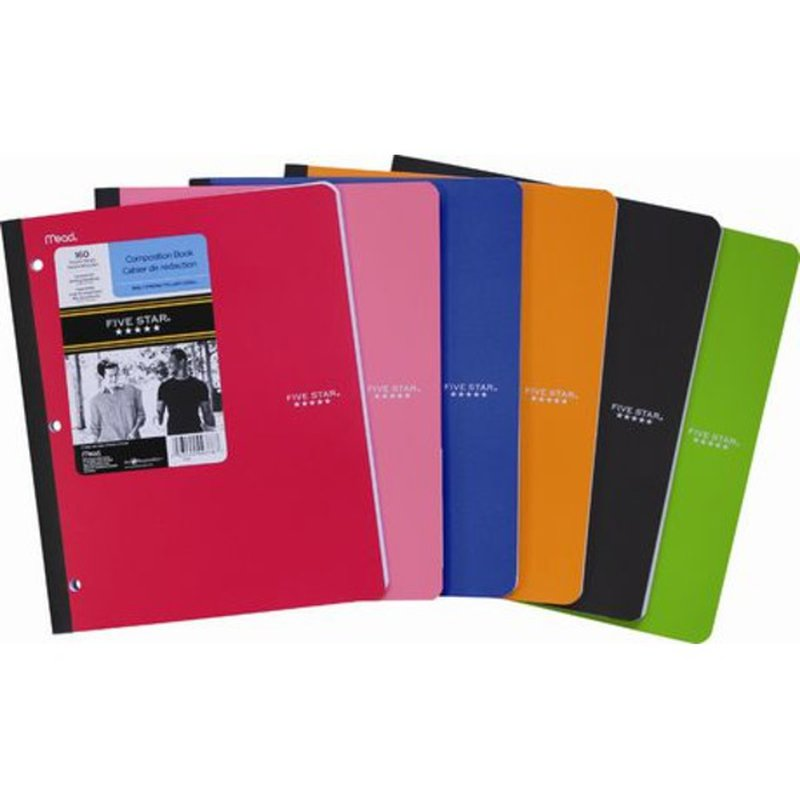 """Five Star 9 - 1/8"""" x 11 40 Pages 3 Hole Punched 1 Subject Poly Wireless Notebook"""