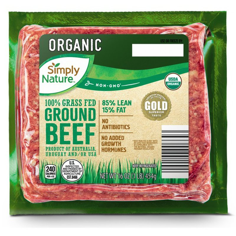 Simply Nature 100% Organic Grass Fed 85% Fat 15% Lean Ground Beef