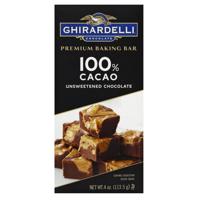 Ghirardelli Chocolate Premium Baking Bar 100% Cacao Unsweetened Chocolate