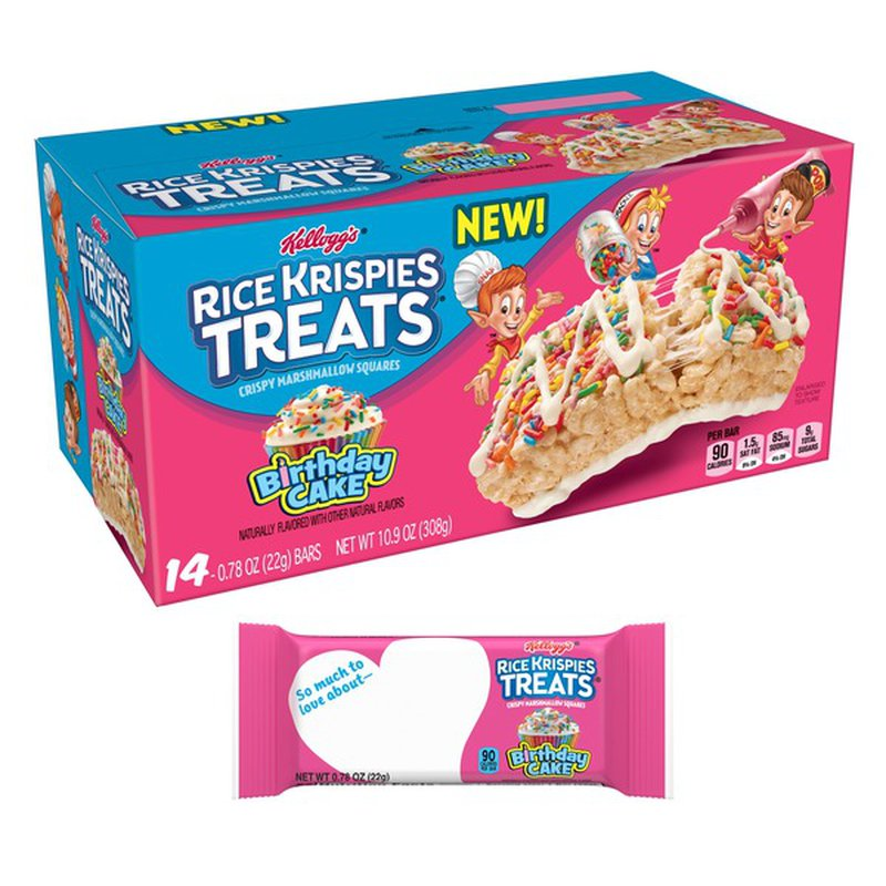 Groovy Rice Krispies Treats Crispy Marshmallow Squares Birthday Cake Birthday Cards Printable Inklcafe Filternl