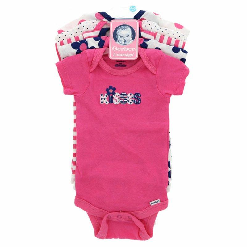 Gerber Girls' 3-6 Month Variety Short-Sleeve Bodysuits