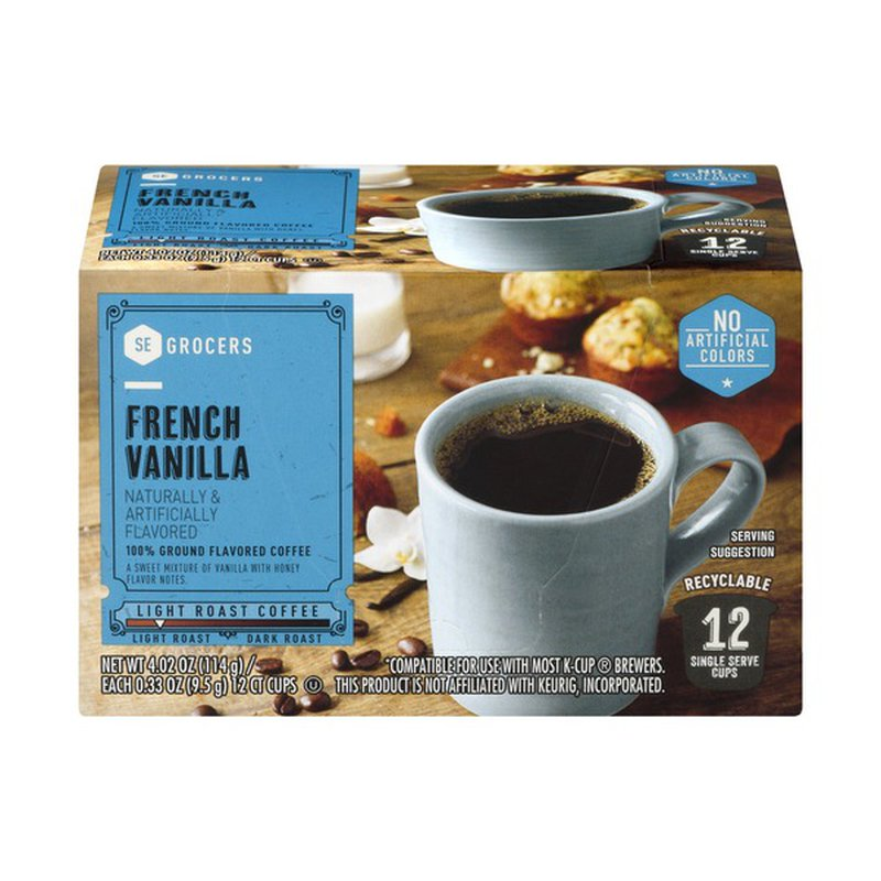 Southeastern Grocers 100 Ground Coffee Single Serve Cups French Vanilla 12 Ct 0 33 Oz From Winn Dixie Instacart