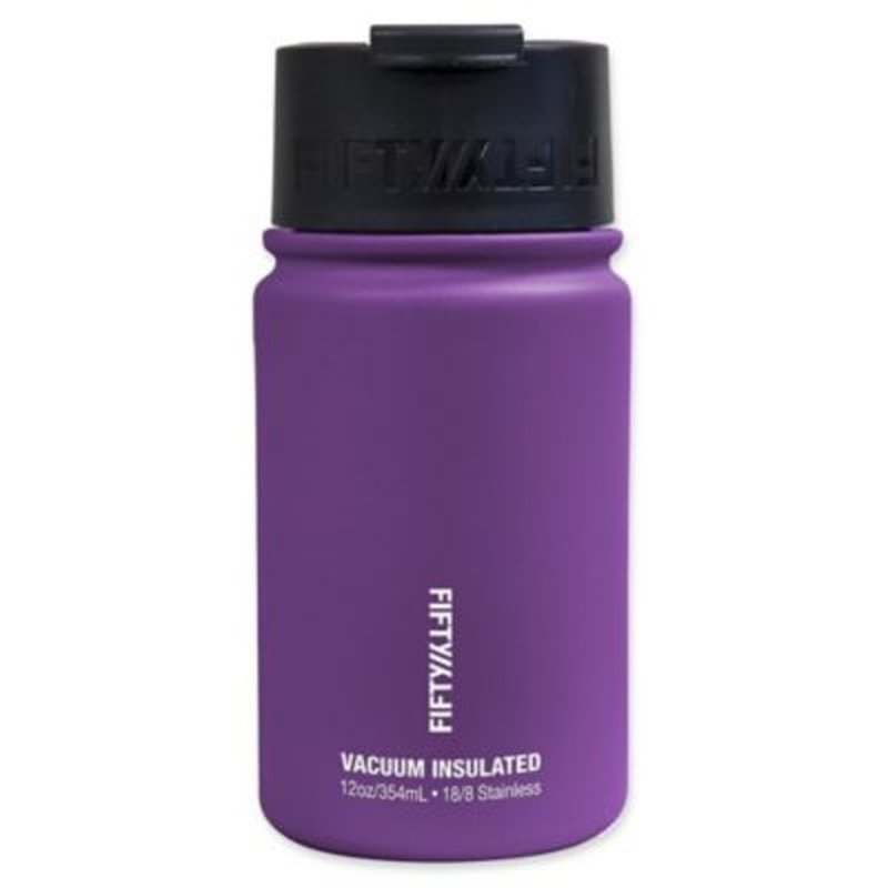 Fifty/Fifty 12 Ounce Royal Purple Double Wall Vacuum Insulated Stainless Steel Water Bottle With Flip Cap & Wide Mouth