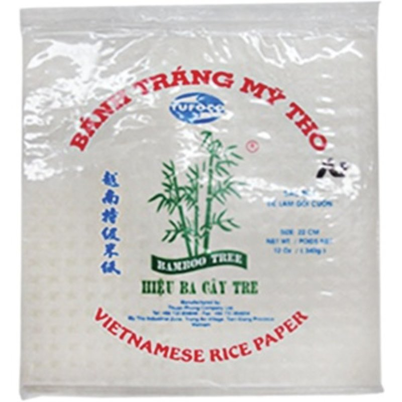 Tufoco Bamboo Tree Square Spring Roll Rice Paper Wrappers