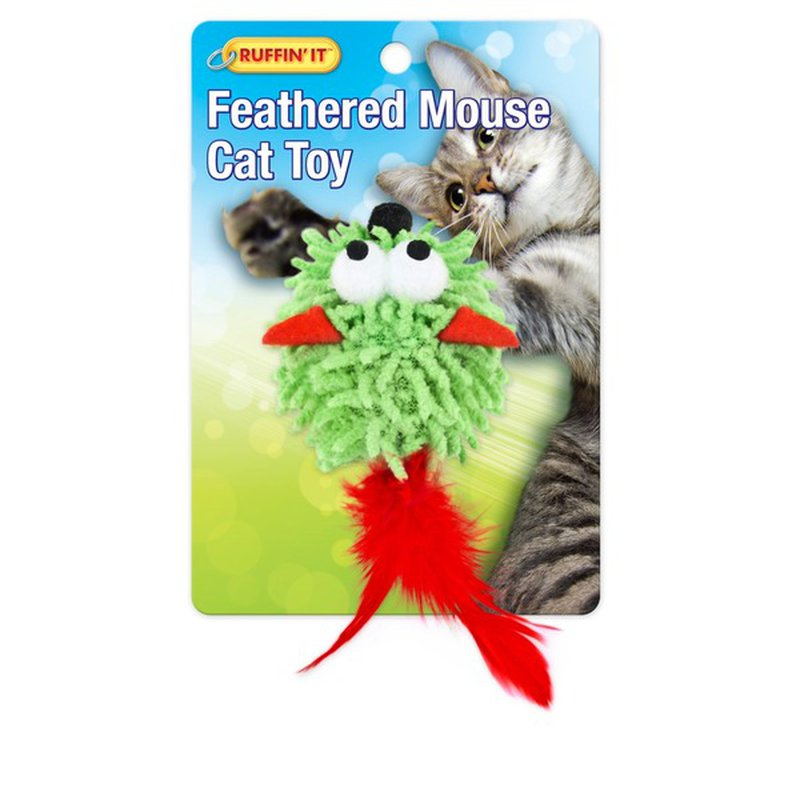 Ruffin' It Feathered Mouse Cat Toy