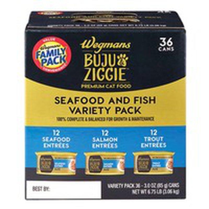 Wegmans Buju & Ziggie Premium Cat Food Seafood and Fish Variety Pack, FAMILY PACK