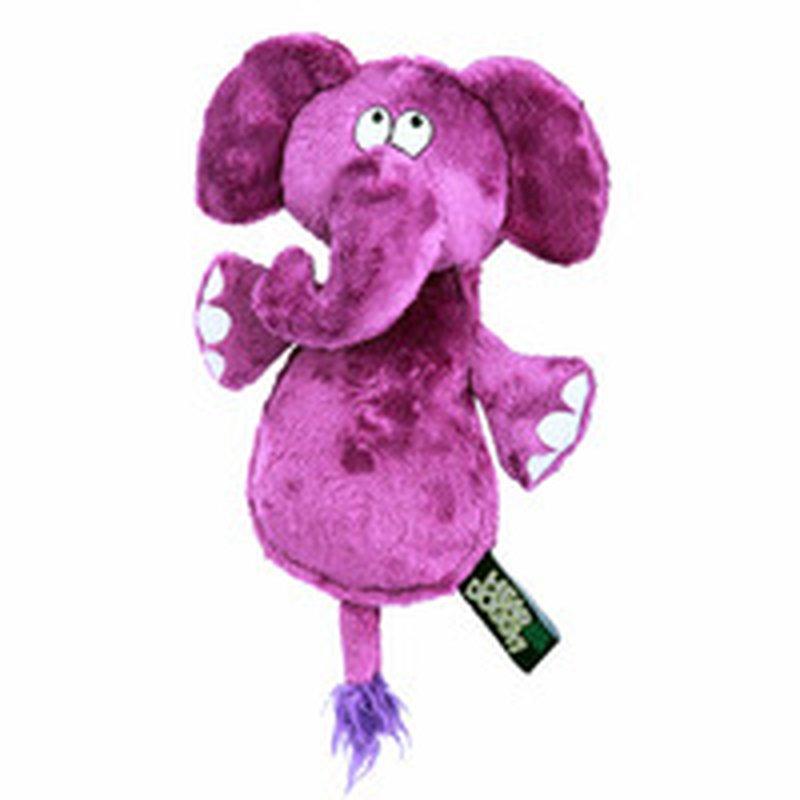 Hear Doggy Silent Squeaker Chew Guard Flattie Elephant Dog Toy