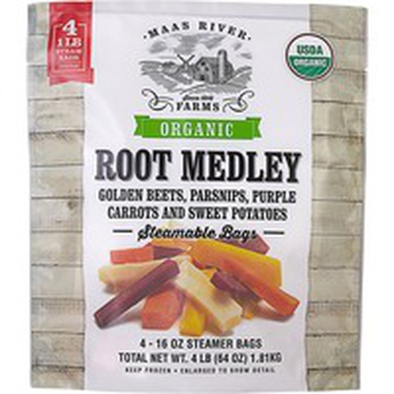 Maas River GOLDEN BEETS, PARSNIPS, PURPLE CARROTS AND SWEET POTATOES ROOT MEDLEY Steamable Bags
