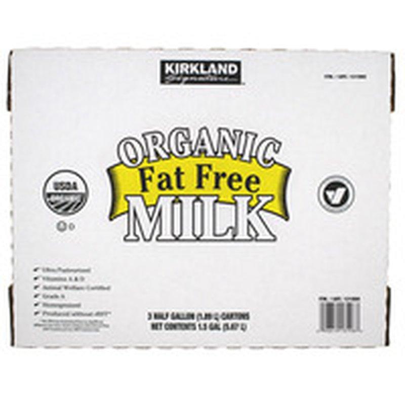 Kirkland Signature Organic Fat Free Milk, 3 x 64 oz