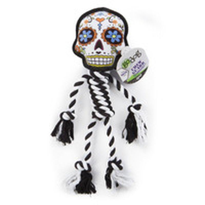 goDog Large White Sugar Skulls Chew Guard Technology Rope Dog Toy