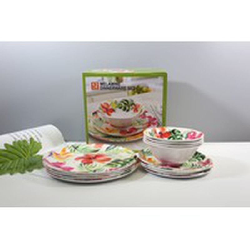 12 Piece Melamine Dinnerware Set